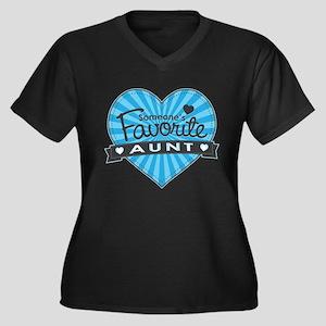 Favorite Aunt Blue Women's Plus Size V-Neck Dark T