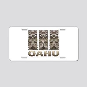 Oahu Tiki Aluminum License Plate