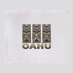 Oahu Tiki Throw Blanket