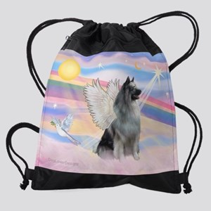 CLOUDS-Keeshond2-rev Drawstring Bag