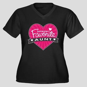 Favorite Aunt Pink Women's Plus Size V-Neck Dark T