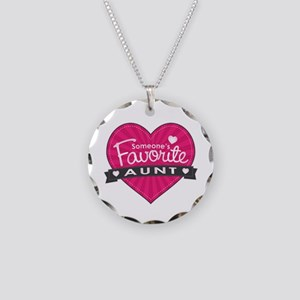Favorite Aunt Pink Necklace Circle Charm