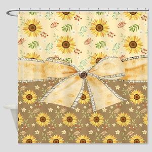Rustic Sunflowers Shower Curtain