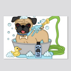 Male Pug Dog Bath Time Postcards (Package of 8)