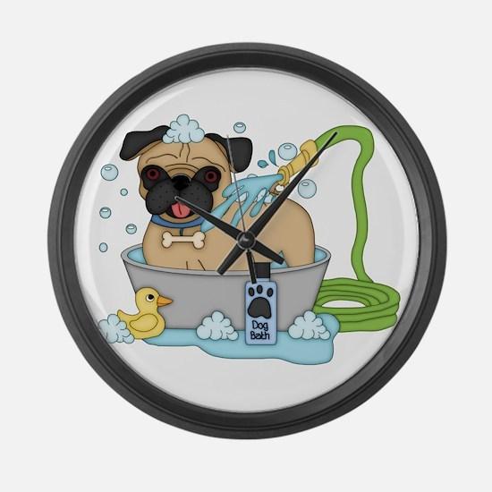 Male Pug Dog Bath Time Large Wall Clock