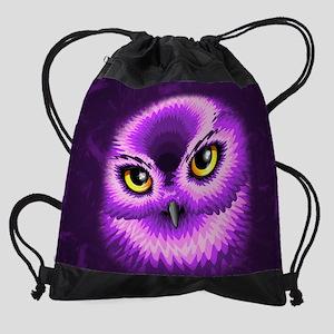 Pink Owl Eyes Drawstring Bag
