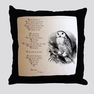 Owl with poem Throw Pillow