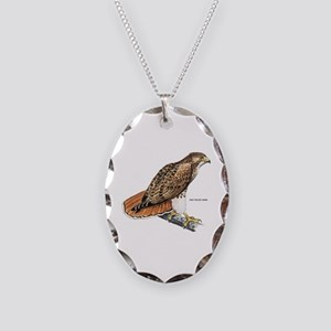 Red-Tailed Hawk Bird Necklace Oval Charm