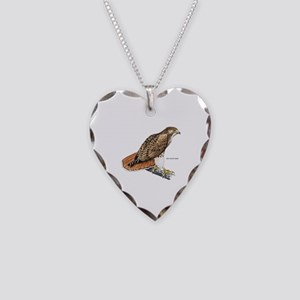 Red-Tailed Hawk Bird Necklace Heart Charm