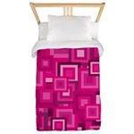 Retro Pink Square Pattern Twin Duvet