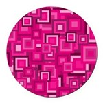 Retro Pink Square Pattern Round Car Magnet