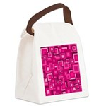 Retro Pink Square Pattern Canvas Lunch Bag