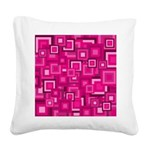 Retro Pink Square Pattern Square Canvas Pillow