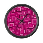 Retro Pink Square Pattern Large Wall Clock