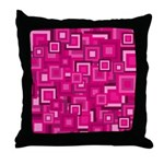 Retro Pink Square Pattern Throw Pillow