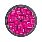 Retro Pink Square Pattern Wall Clock