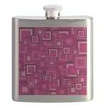 Retro Pink Square Pattern Flask
