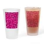 Retro Pink Square Pattern Drinking Glass