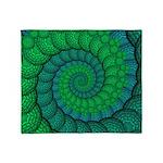 Blue and Green Fractal Art Throw Blanket