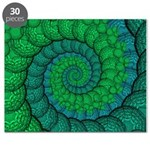 Blue and Green Fractal Art Puzzle