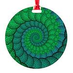 Blue and Green Fractal Art Ornament