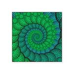 Blue and Green Fractal Art Sticker
