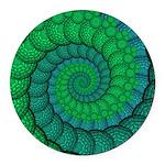 Blue and Green Fractal Art Round Car Magnet