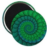 Blue and Green Fractal Art Magnet