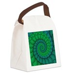Blue and Green Fractal Art Canvas Lunch Bag