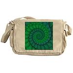Blue and Green Fractal Art Messenger Bag