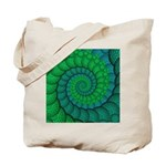 Blue and Green Fractal Art Tote Bag