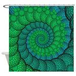 Blue and Green Fractal Art Shower Curtain