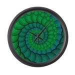 Blue and Green Fractal Art Large Wall Clock
