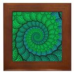 Blue and Green Fractal Art Framed Tile