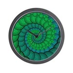 Blue and Green Fractal Art Wall Clock