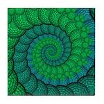 Blue and Green Fractal Art Tile Coaster