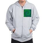 Blue and Green Fractal Art Zip Hoodie