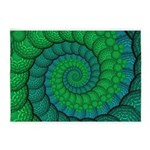 Blue and Green Fractal Art 5'x7'Area Rug