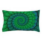Blue and Green Fractal Art Pillow Case