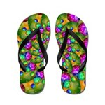 Rainbow Yellow Fractal Art Flip Flops