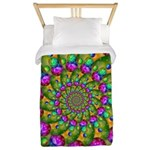 Rainbow Yellow Fractal Art Twin Duvet