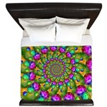 Rainbow Yellow Fractal Art King Duvet