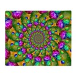 Rainbow Yellow Fractal Art Throw Blanket