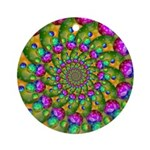Rainbow Yellow Fractal Art Ornament (Round)