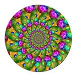 Rainbow Yellow Fractal Art Round Car Magnet