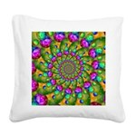Rainbow Yellow Fractal Art Square Canvas Pillow