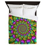 Rainbow Yellow Fractal Art Queen Duvet