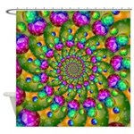 Rainbow Yellow Fractal Art Shower Curtain