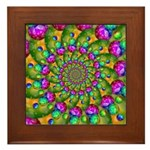 Rainbow Yellow Fractal Art Framed Tile