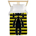 Goth Yellow and Black Bunny Twin Duvet